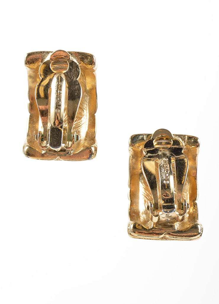 "Givenchy Gold Toned ""G"" Logo Chunky Half Hoop Earrings Backview"