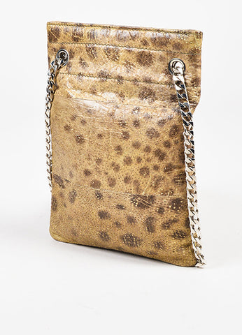 "Givenchy Tan Brown Cheetah Printed Leather ""Shark Tooth"" Chain Bag Back"