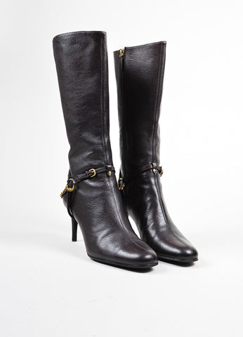 Brown Gucci Leather Mid Heel Side Zip Knee High Boots Frontview