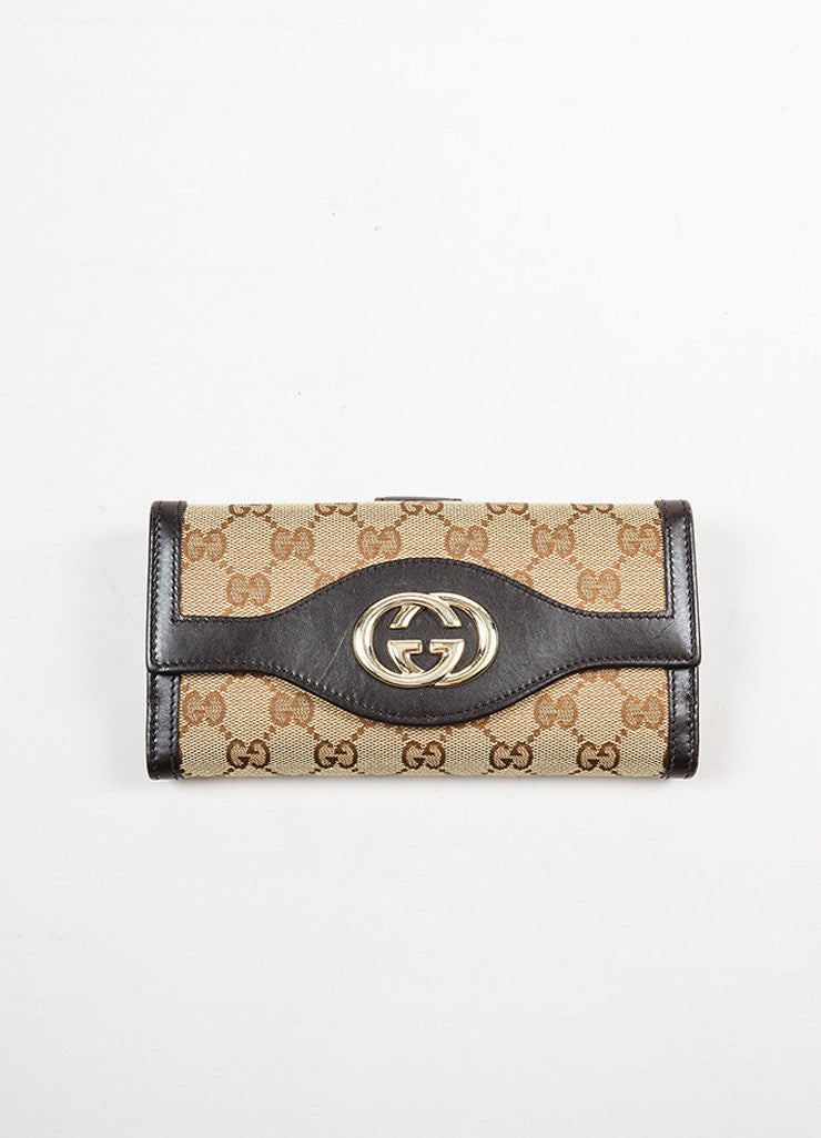 "Gucci Brown and Tan Canvas and Leather Monogram ""Interlocking G Continental"" Wallet Frontview"