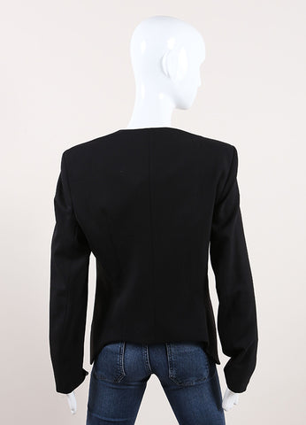 Helmut Lang New With Tags Black Wool Crepe Long Sleeve Smoking Jacket Backview