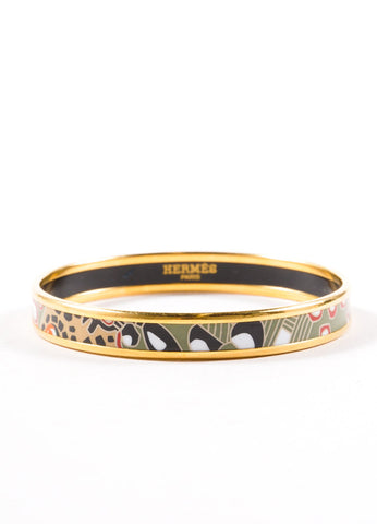 Hermes Gold Toned, Green, and Multicolor Printed Enamel Animal Safari Narrow Bangle Bracelet Frontview