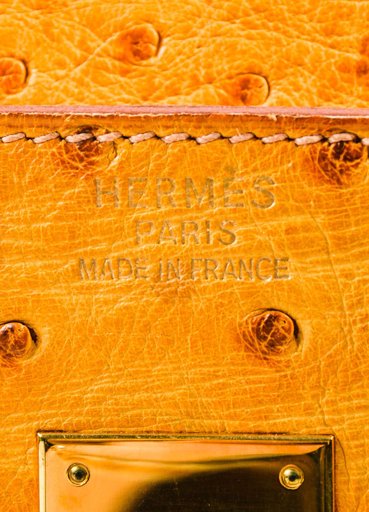 "Hermes 'Saffron' Orange Tan Ostrich Leather 35cm ""Birkin"" Handbag Brand"