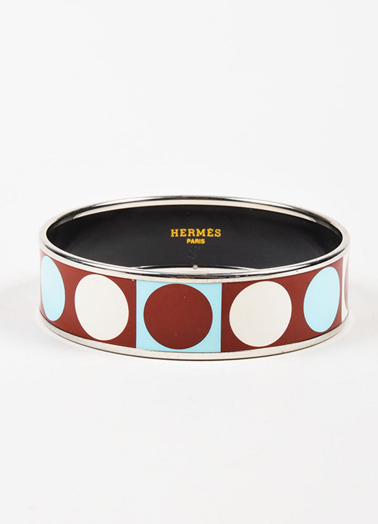 Hermes Silver Toned, Maroon, and Teal Enamel Geometric Print Bangle Bracelet Frontview