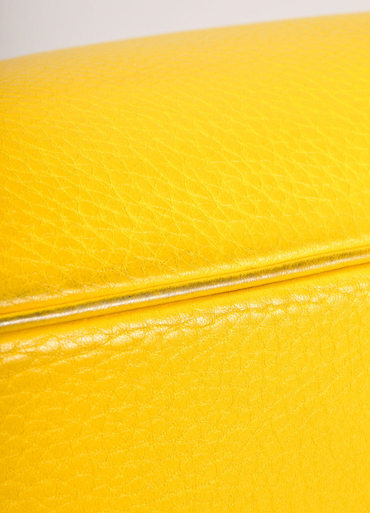 Hermes Yellow and Gold Toned Pebbled Togo Leather 35cm Birkin Bag Detail 4