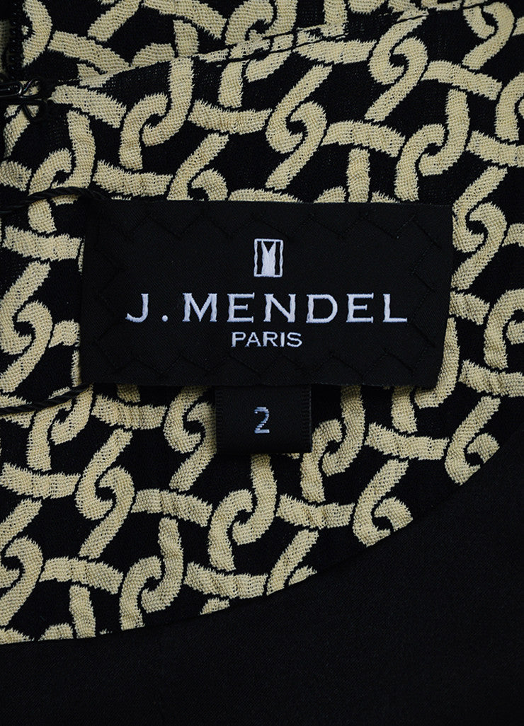Cream and Black J. Mendel Knot Jacquard Long Sleeve Shirt Dress with Scarf Brand