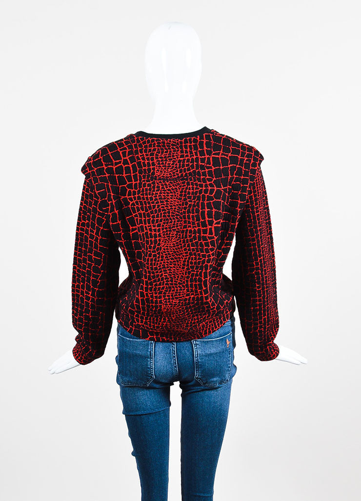 Kenzo Black and Red Textured Pullover Sweater Backview