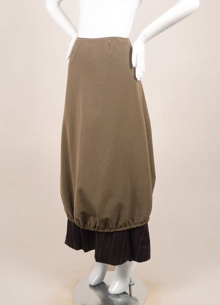 Kenzo Brown and Beige Textured Knit Contrast Stripe Layered Bubble Maxi Skirt Sideview