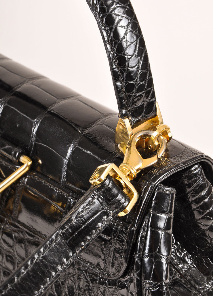 Lana Marks Black Alligator Convertible Backpack Detail 2