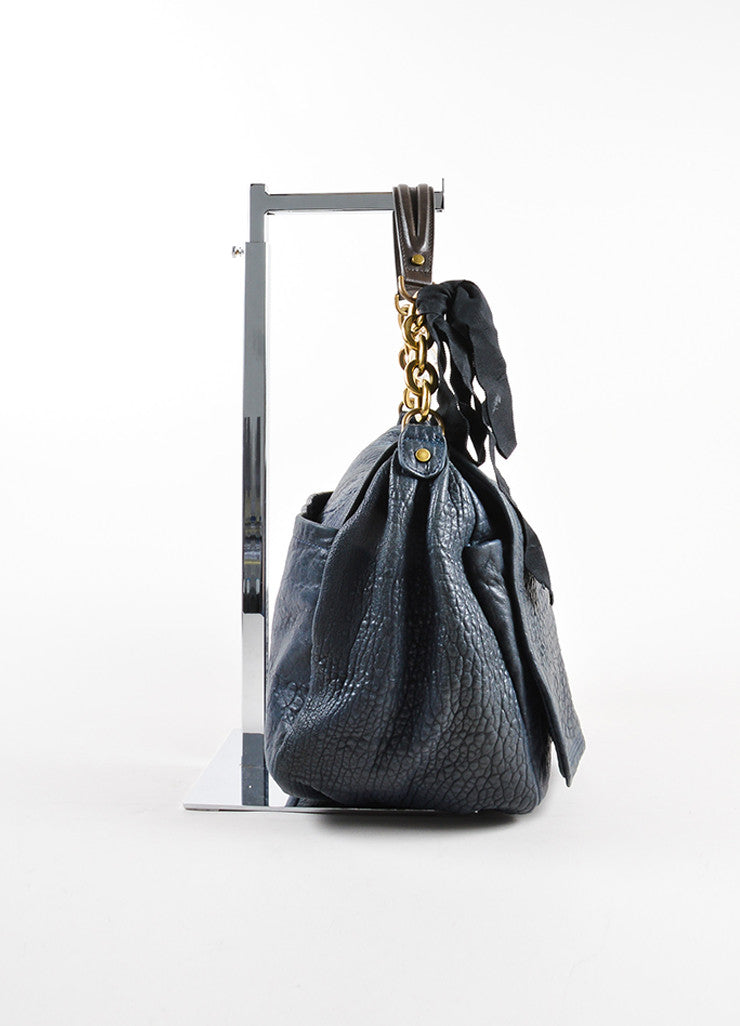 Lanvin Navy Blue Pebbled Leather Chain Strap Flap Shoulder Bag Sideview