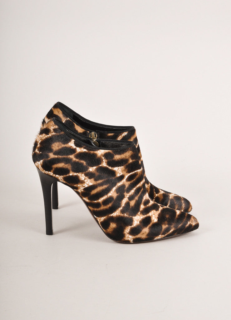 Lanvin New In Box Brown Leopard Print Pony Hair Pointed Toe Ankle Booties Sideview