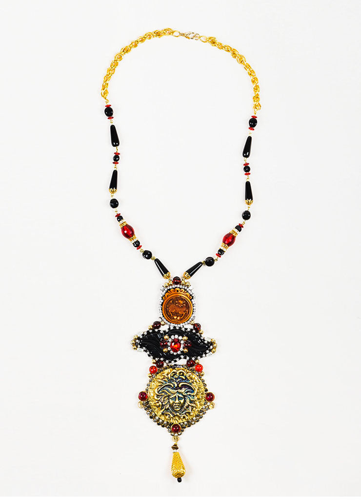 Lawrence Vrba  Gold Toned, Red, and Black Crystal Medusa Pendant Statement Necklace Frontview