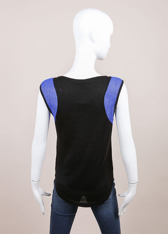 Leetha New Black and Blue Sleeveless Cashmere and Silk Perforated Shoulder Top Backview