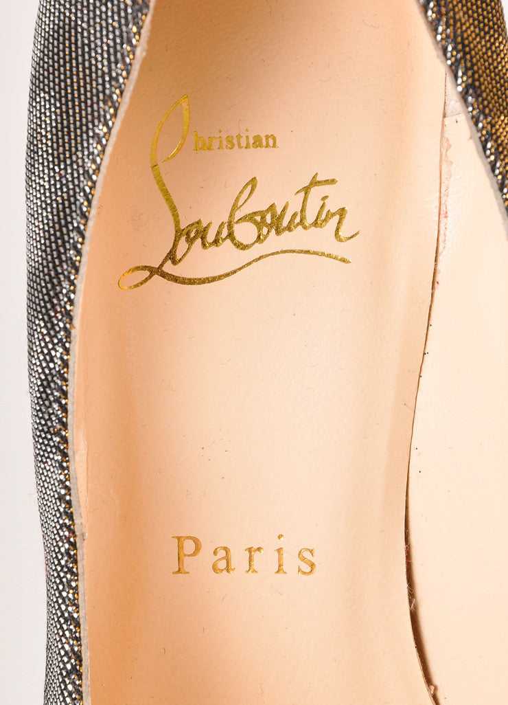 "Christian Louboutin Silver and Gold Metallic Leopard Print ""Daffodile"" Pumps Brand"