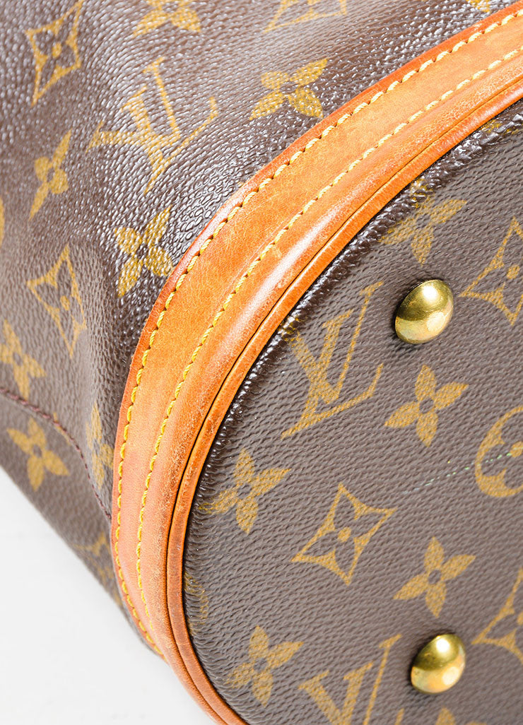 "Louis Vuitton Brown Coated Canvas ""Petite Bucket"" Bag Detail"