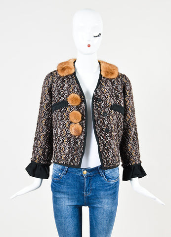 Louis Vuitton Brown, Pink, and Black Tweed Fur Trim Crop Snap Jacket  Frontview