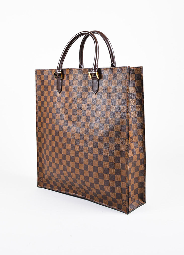 "Louis Vuitton ""Ebene"" Brown Coated Canvas Leather ""Damier Sac Plat NM"" Bag Sideview"