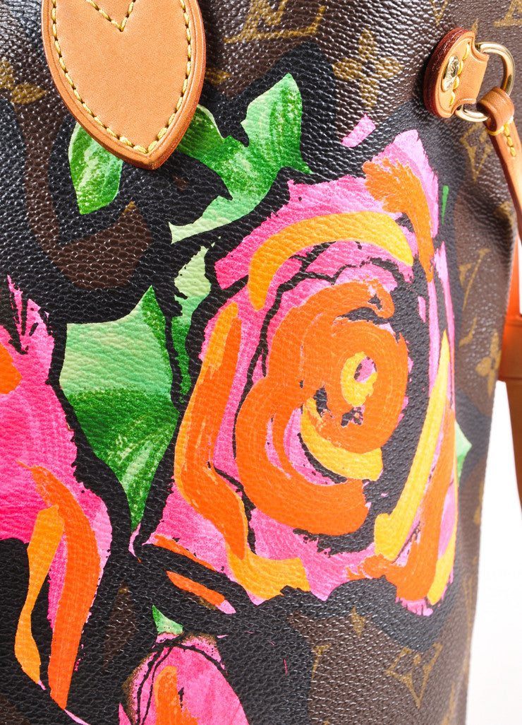 "Brown and Pink Monogram Canvas Roses ""Neverfull"" Tote Bag"