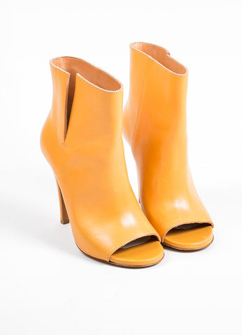 Tan Maison Martin Margiela Leather Open Toe Pull On Heeled Ankle Boots Frontview