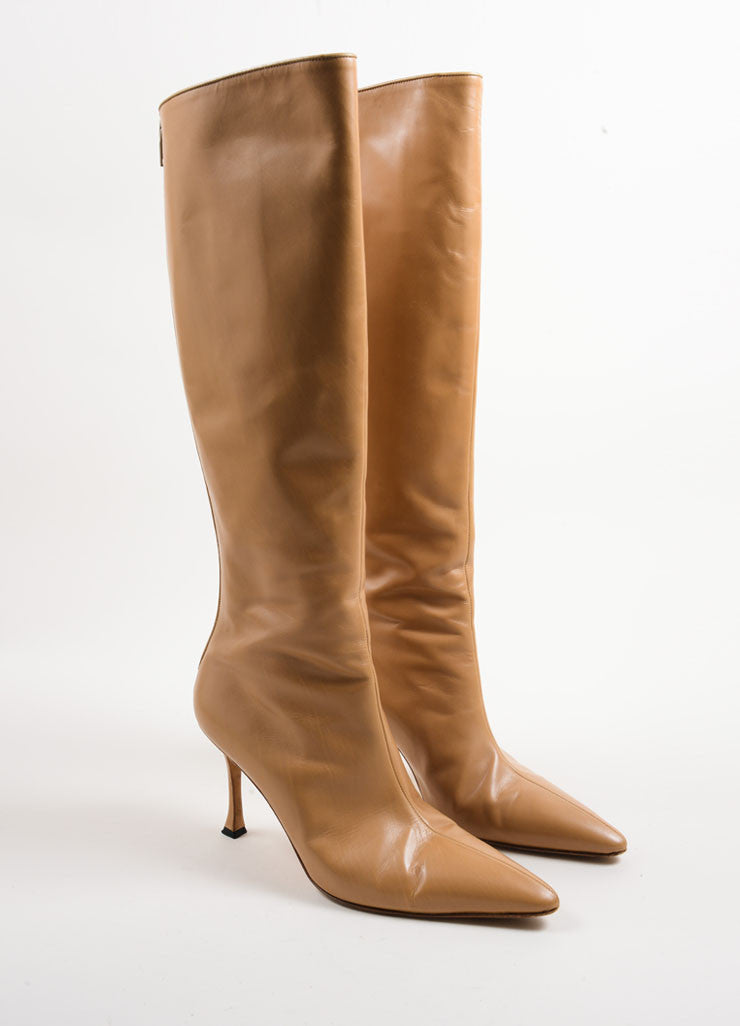 Manolo Blahnik Tan Leather Knee High Heeled Boots Frontview