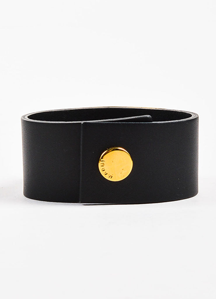 Marni Black and Gold Toned Leather and Resin Stone Snap Button Cuff Bracelet Backview