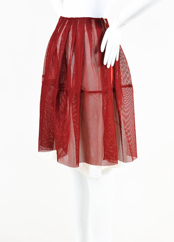 Marni Red Mesh Pleated A Line Skirt Side