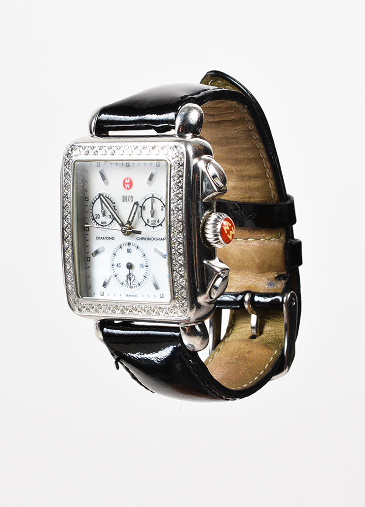"Michele Stainless Steel, Black Patent Leather, and Diamond ""Deco"" Chronograph Watch Sideview"