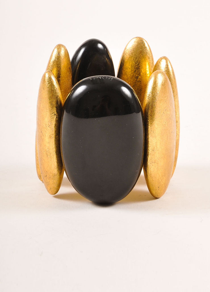 Monies Black and Gold Toned Metallic Oversized Oval Bead Stretch Statement Bracelet Sideview