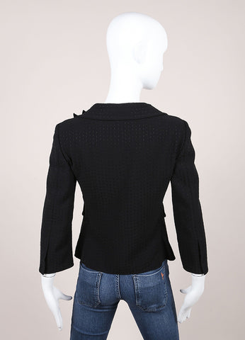 Moschino Black Woven Velvet Flower Applique Stitch Trim Blazer Backview