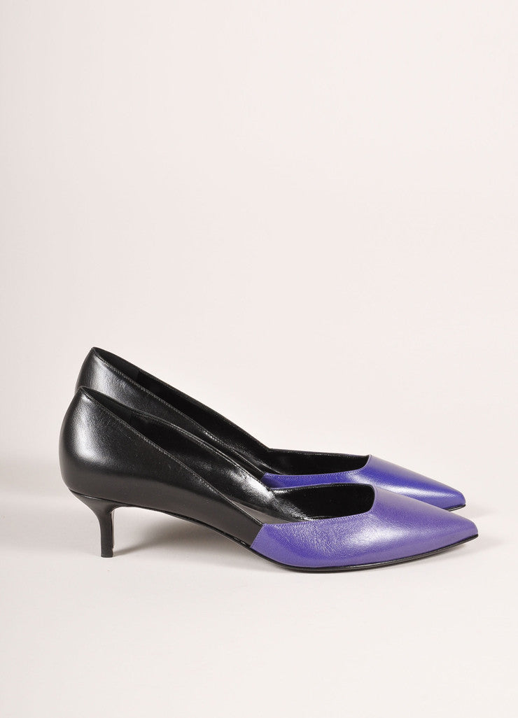 Pierre Hardy New In Box Blue and Black Leather Two Tone Pointed Kitten Heels Sideview