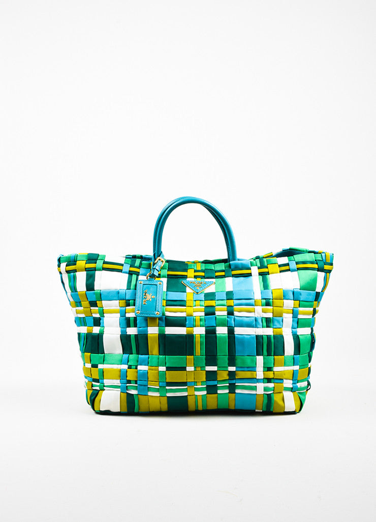 Prada Green, Teal, and White Tessuto Nylon Leather Trim Woven Tote Bag Frontview