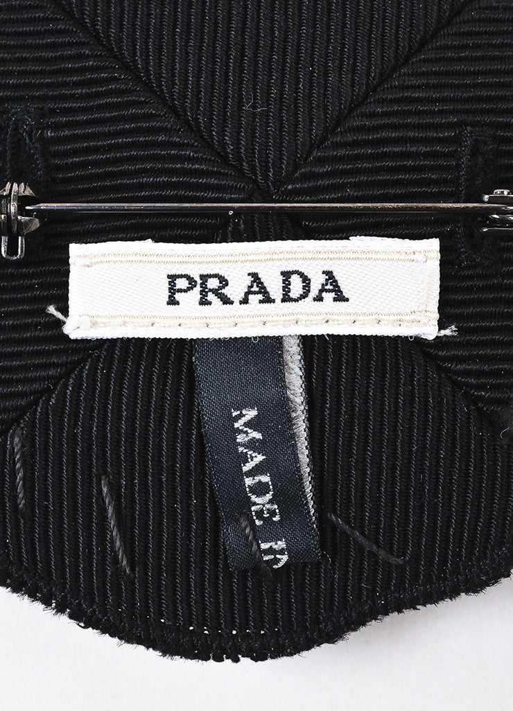 Prada Black Silk Twill Clear Jewel Circle Brooch Pin Brand
