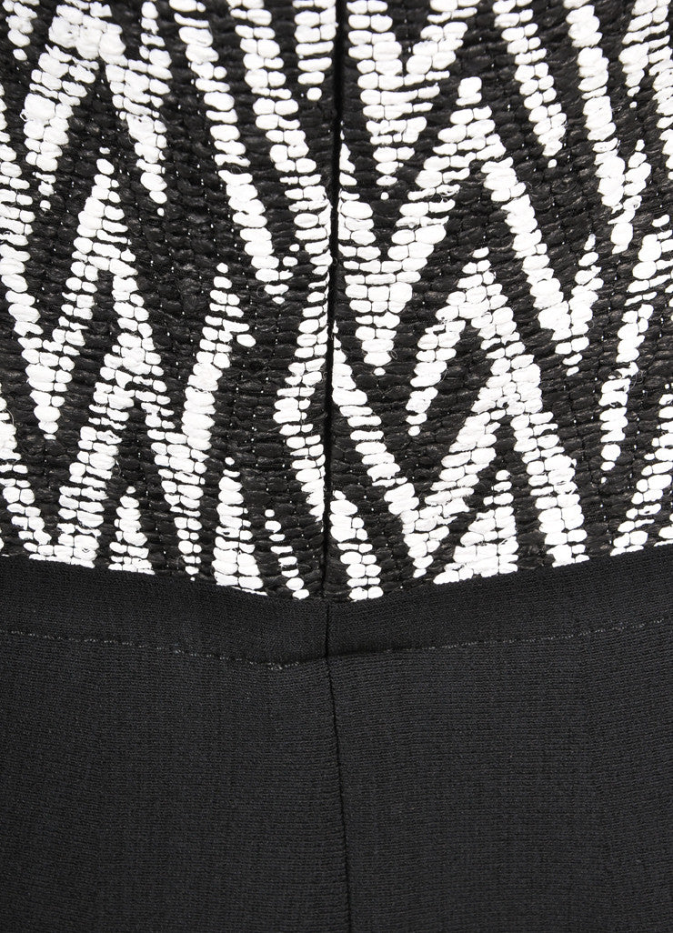 Proenza Schouler New With Tags Black and White Plaster Jacquard Drop Waist Dress Detail