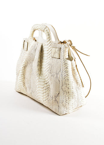 Cream and Brown Salvatore Ferragam Snakeskin Leather Top Handle Handbag Sideview