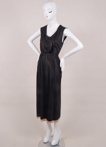 Sonia Rykiel New With Tags Black and Blush Cotton Sleeveless Ruffle Midi Dress Sideview
