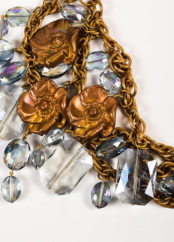 Susanna Galanis Vintage Brass Smokey Crystal Flower Charm Necklace Detail