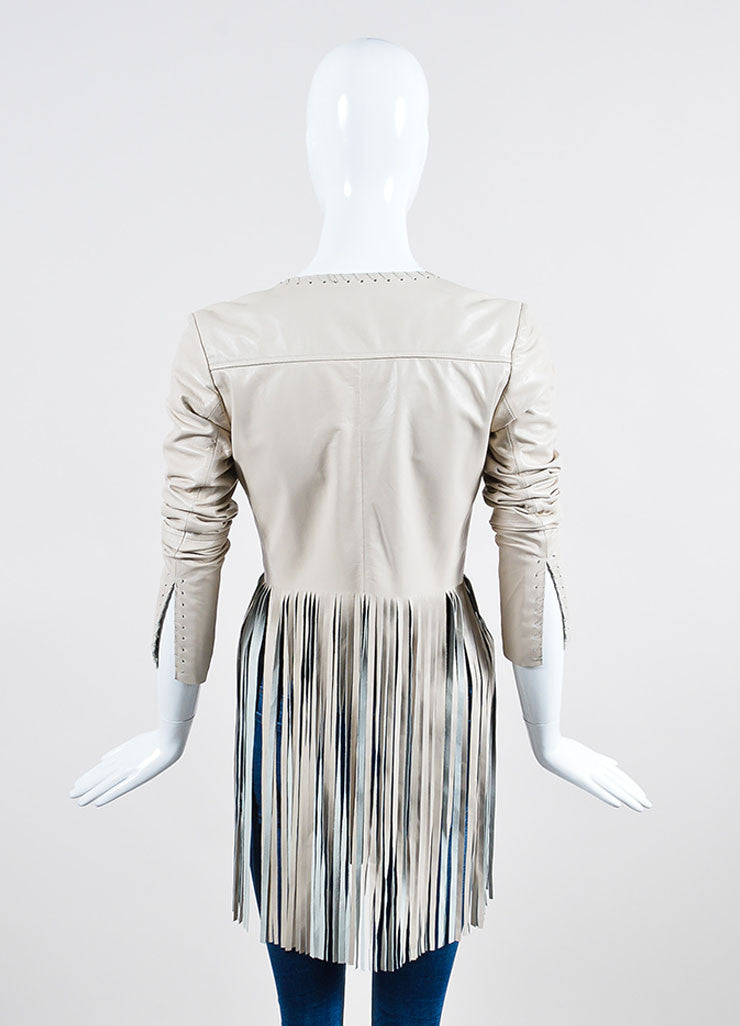 "The Perfext Cream Leather Laced ""Christy"" Fringe Jacket Backview"