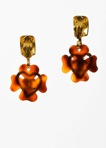Gold Toned and Tortoise Resin Chanel 'CC' Heart Clover Clip On Earrings Backview