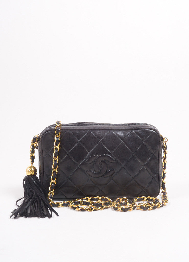 "Chanel Black Quilted Lambskin ""CC"" Tassel Chain Strap Shoulder Bag Frontview"