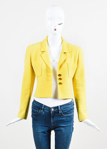 Chanel Yellow Tweed 'CC' Button Cropped Structured Jacket Frontview