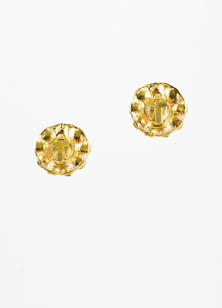Chanel Gold Toned Oversized Faux Pearl Crystal Round Clip On Earrings Backview