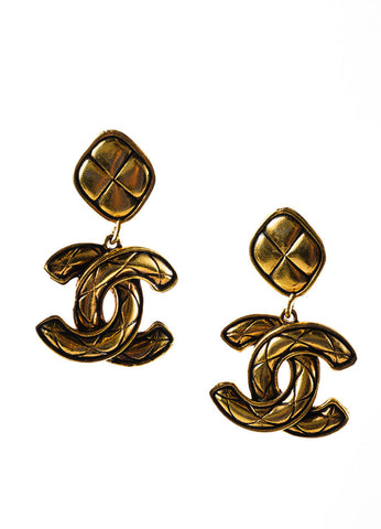 "Gold Toned Chanel Quilted ""CC"" Drop Earrings Frontview"