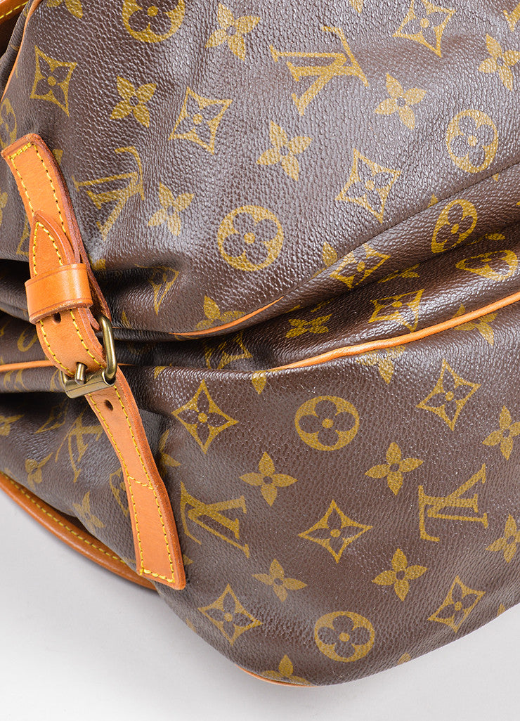 "Brown Louis Vuitton Monogram ""Saumur 35"" Messenger Bag Detail 1"