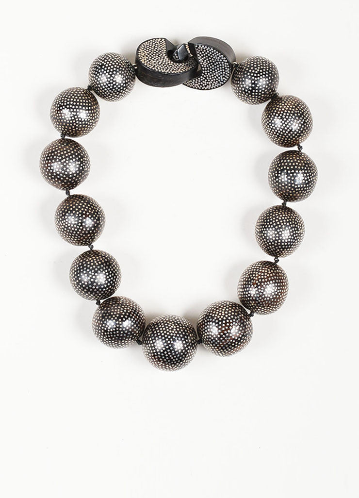 Patricia von Musulin Ebony and Sterling Silver Dotted Chunky Beaded Necklace Frontview