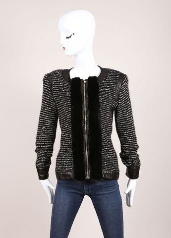 Valentino Black and White Wool Knit and Leather Boucle Tweed Fur Trim Long Sleeve Jacket Frontview