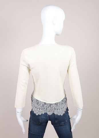 Valentino Cream Ribbed Knit Lace Satin Trim Crop Sleeve Cardigan Sweater Backview