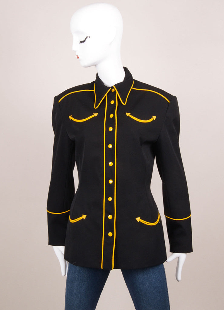 Norma Kamali Black and Yellow Military Jacket Frontview