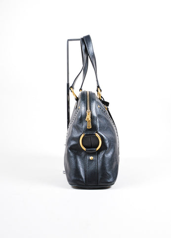 "Yves Saint Laurent Black Leather ""Muse"" Handbag Sideview"
