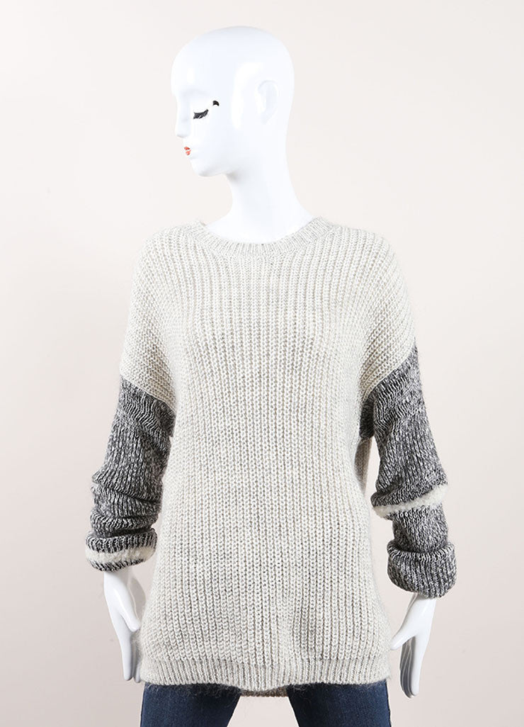 Yigal Azrouel Grey Cotton and Wool Varsity Stripe Pull Over Sweater Frontview