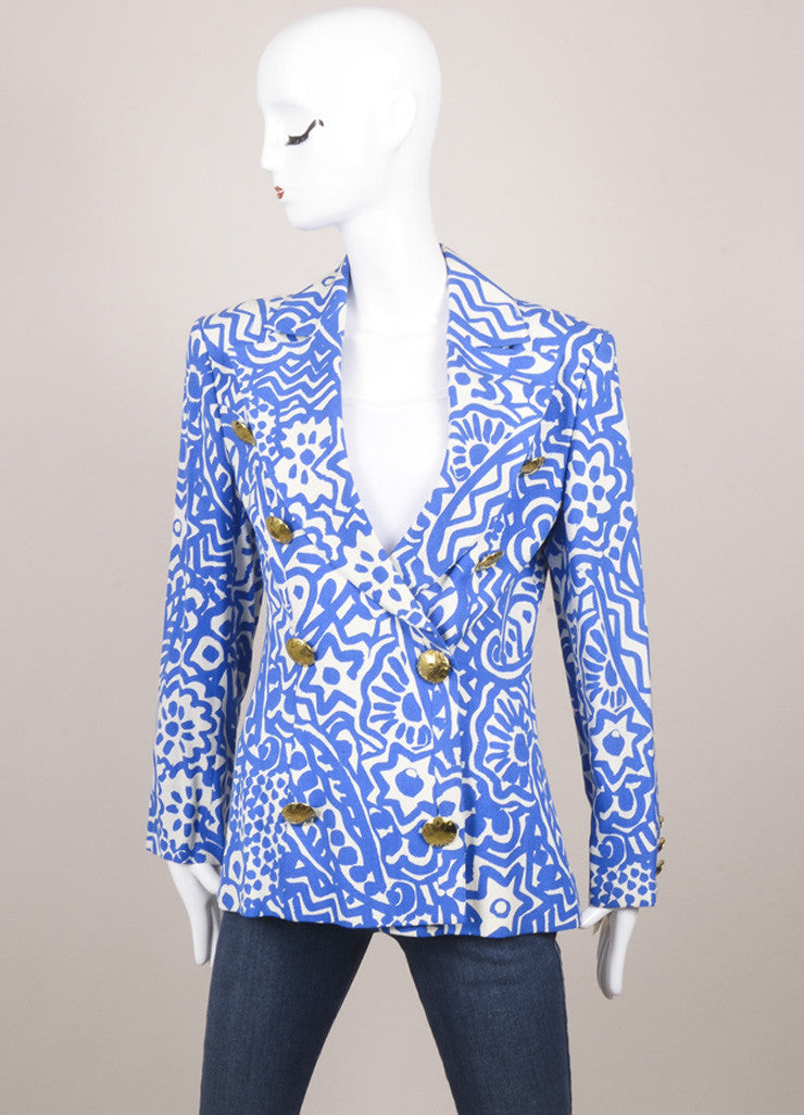 Christian Lacroix Blue and White Abstract Print Blazer Jacket Frontview